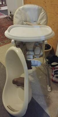 white and gray high chair