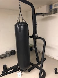 Gym equipment (home gym, bench with weights and rack, punching bag)
