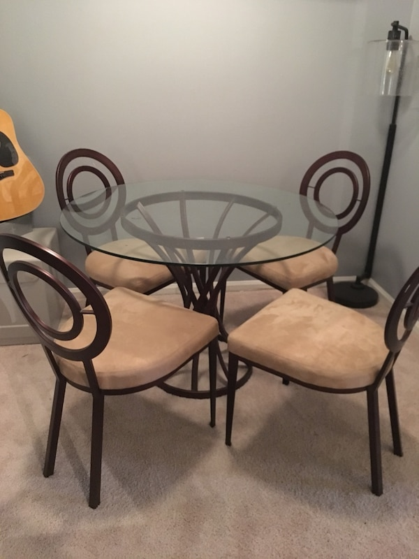 Swell Elite Modern Carl Muller Glass Metal Corona Dining Table 4 Four Chairs Like New Lamtechconsult Wood Chair Design Ideas Lamtechconsultcom