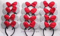 12 Minnie Mouse Silver Red Bow Ears Downey