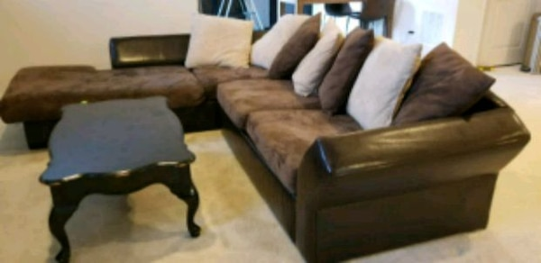 brown leather sofa set with coffee table