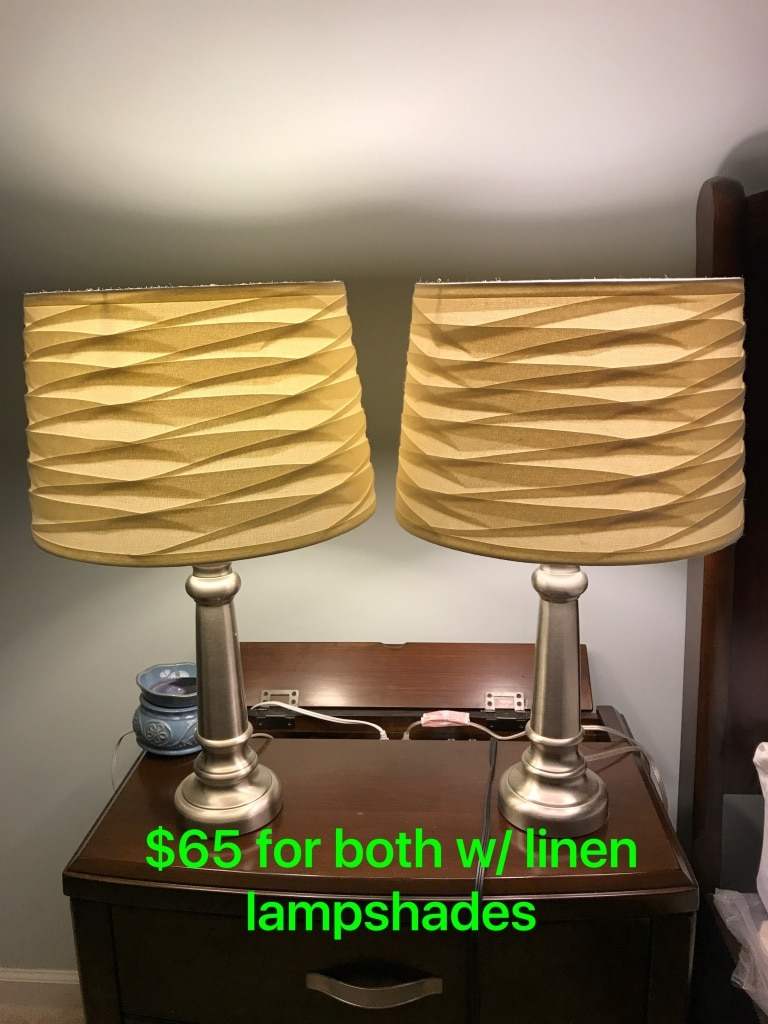 Table Lamps W/ Linen Lampshades