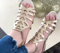 pair of pink leather open toe ankle strap heels Bensenville, 60106