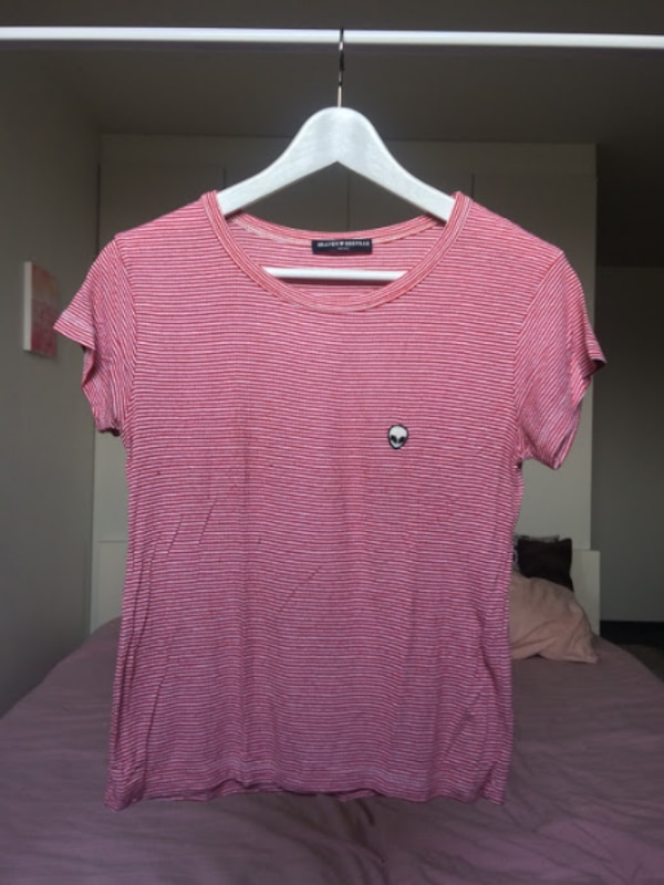 Red-and-white striped Brandy Melville T-shirt with logo