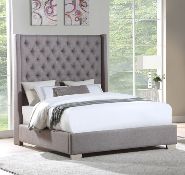 Used Beautiful Grey Queen King Size Bed