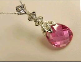Solid gold Diamond and pink topaz pendant necklace
