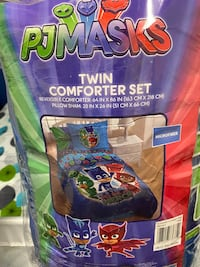 Twin size PJ mask bedding, rug, and toys