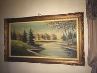 painting of trees with brown wooden frame Montréal, H3L 1Z8