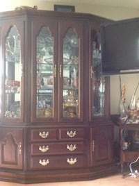 brown wooden framed glass display cabinet Coquitlam, V3E