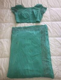 Turquoise & Silver Saree with Blouse  Markham, L6B 1N4