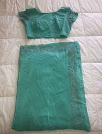 Turquoise & Silver Saree with Blouse