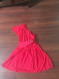 women's pink one shoulder dress