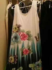 white, red, blue, and green floral scoop neck tank