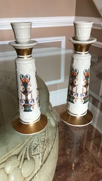 two white-and-brown ceramic candle holders 30 km