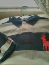 white and blue candy striped Ralph Lauren polo shirt