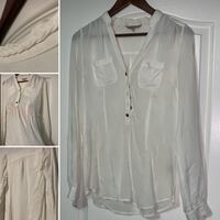 Braided collar sheer white hot tunic top w pockets button tie sleeve and belt loops Brampton, L6R 0E2
