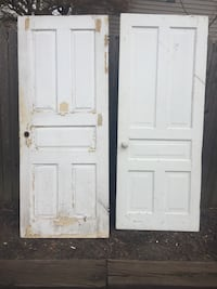 2 Antique Solid Wood 5 Raised Panel Doors with Hardware Huntingdon Valley, 19006
