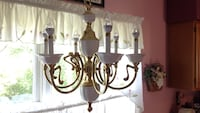 Gold and white uplight chandelier w/ led bulbs