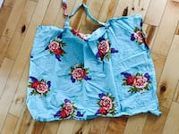 blue, red and green floral bag