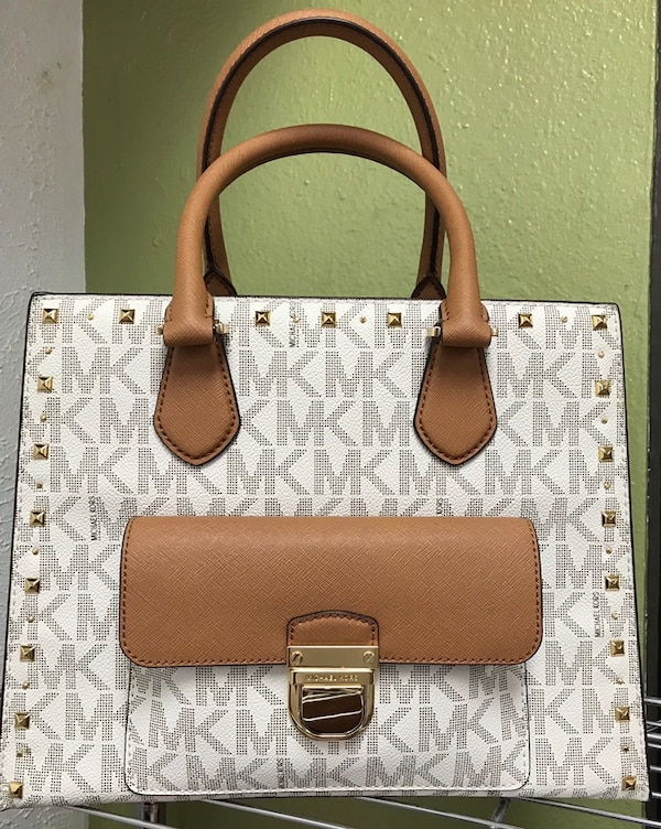 d84a87ebf860 Used white and brown Michael Kors monogram leather tote bag for sale ...