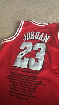 red and white Micheal Jordan 13 jersey Euclid, 44123