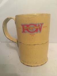 yellow and red ceramic mug Kawartha Lakes
