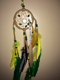 Multi colored dream catchers  I sell only authentic real hand made by me. Kicking horse all sizes dear or elk hide real bone real crystals real sinue