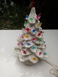 Vintage Lighted Ceramic Christmas tree with Bird Lights