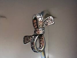 Sterling silver/CZ bow ring size 8