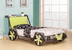 black and green car themed bed