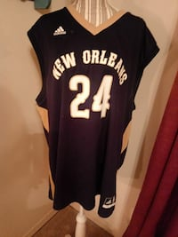 black and white Adidas New Orleans #24 jersey