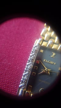 Gold plated Elgin watch with 8 real diamonds Montréal