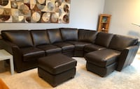 black leather sectional couch and ottoman Centre Wellington, N1M 1S3