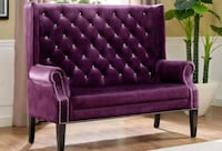 Odina Purple Velvet High Back Loveseat | 4943   Houston, 77036