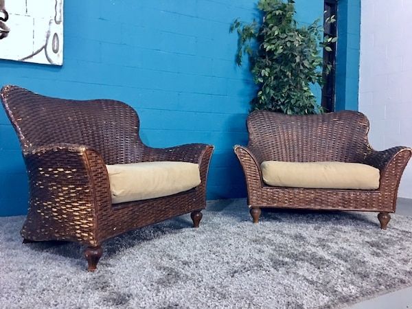 Excursions Set Of 2 Oversized Wicker Chairs Free Delivery