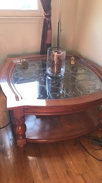 Brown wooden framed glass top table New York, 11362