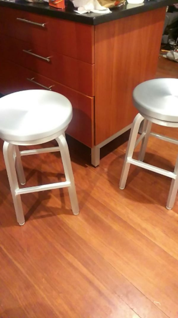 Two Crate and Barrel stools 284281c6-af66-4c83-afab-2b47605451d5