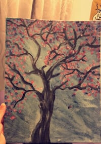 gray and pink tree painting Mississauga, L5C 3P2