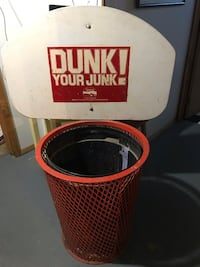 """Who remembers """"Dunk your Junk""""? Here is an original trash can. This is solid, and Heavy. Good for a game room, man cave, whatever!  Liverpool, 13088"""