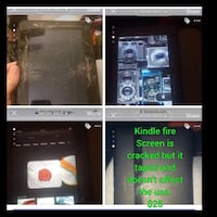 Kindle fire. Cracked screen but taped and doesn't affect anything. Abilene