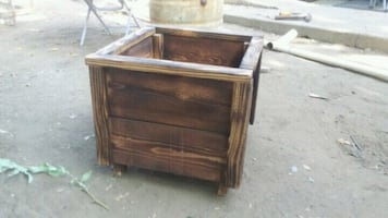 New burned finish wood planter