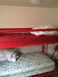Red and brown wooden bunk bed Chester, 19013