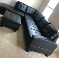 New Black Sofa Sectional w/Ottoman Silver Spring