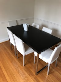 rectangular black wooden table with four chairs dining set Washington