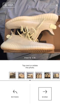 Selling my yeezy 350 v2 butter only worn once these pictures are from me trying to sell on the goat app (an app to buy and sell sneakers) if you want actual pictures just let me know Albert, 49756