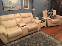 Leather dual power couch & power arm chair, dog not included