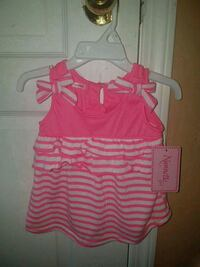girl's pink and white stripe shirt.