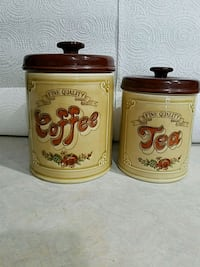 1960 Collectible Coffee & Tea Ceramic Canisters Foley