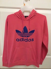 Pink adidas pull-over hoodie