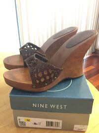 Nine West Brown Leather Platform Wooden Wedges - NEW with Box!